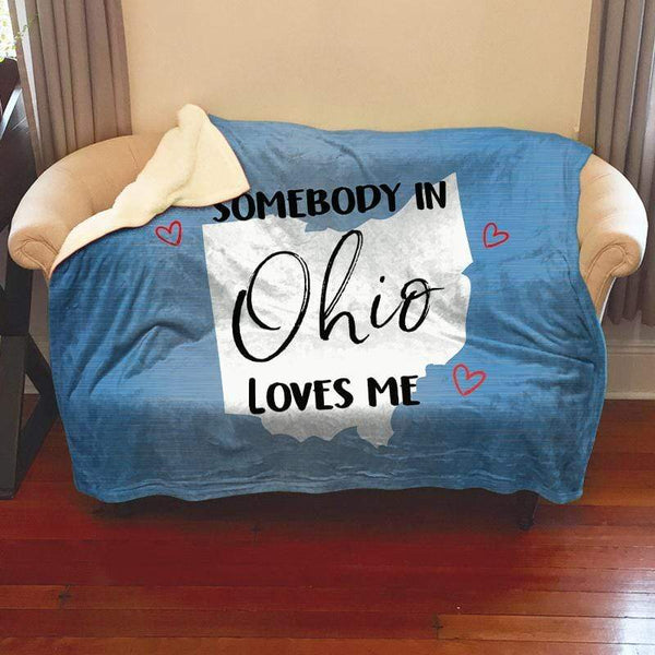 Somebody Loves Me (CUSTOM) Sherpa Blanket Blankets CustomCat Ohio