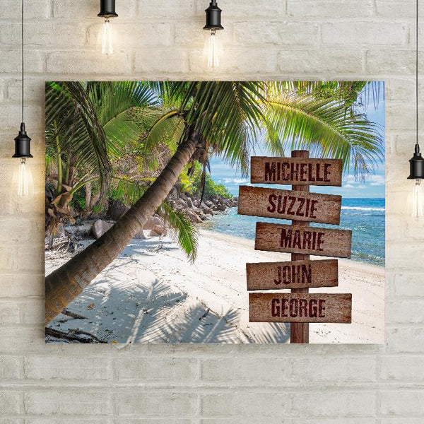 Personalized Palm Tree Beach Premium Canvas