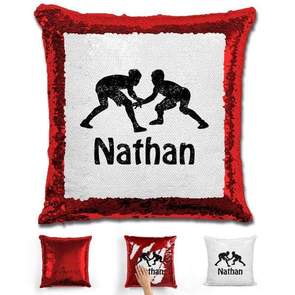 Wrestling Personalized Magic Sequin Pillow Pillow GLAM Red Black