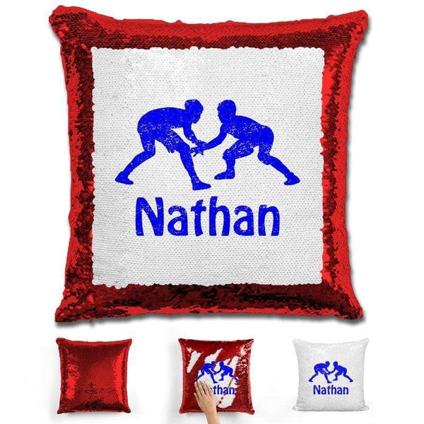 Wrestling Personalized Magic Sequin Pillow Pillow GLAM Red Blue