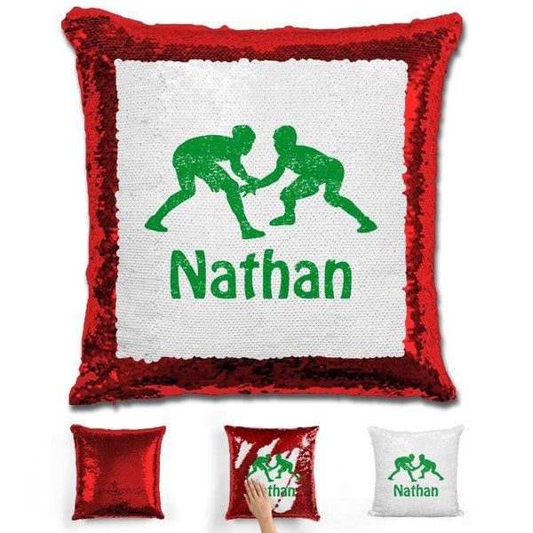 Wrestling Personalized Magic Sequin Pillow Pillow GLAM Red Green