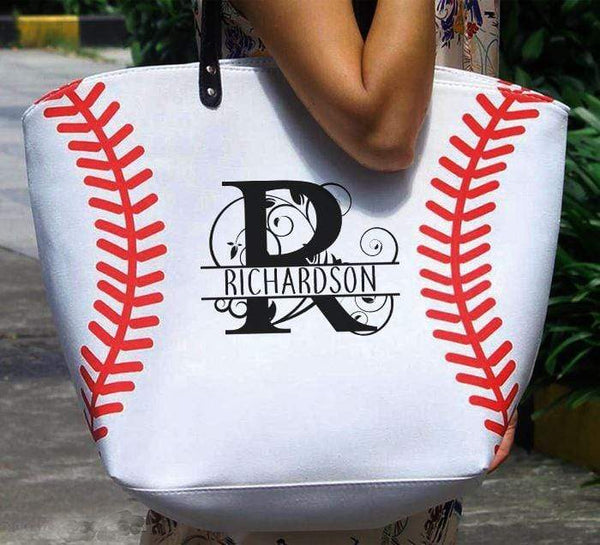 CUSTOM Monogram Softball & Baseball Premium Tote Bags Edge Baseball