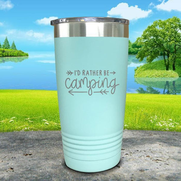 I'd Rather Be Camping Engraved Tumbler Tumbler Nocturnal Coatings 20oz Tumbler Mint