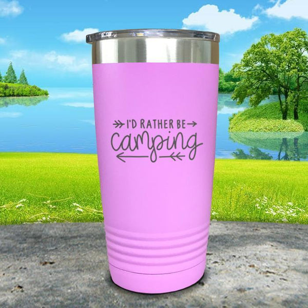 I'd Rather Be Camping Engraved Tumbler Tumbler Nocturnal Coatings 20oz Tumbler Lavender