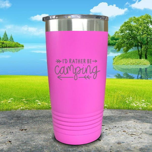 I'd Rather Be Camping Engraved Tumbler Tumbler Nocturnal Coatings 20oz Tumbler Pink