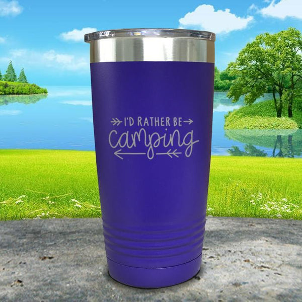 I'd Rather Be Camping Engraved Tumbler Tumbler Nocturnal Coatings 20oz Tumbler Royal Purple