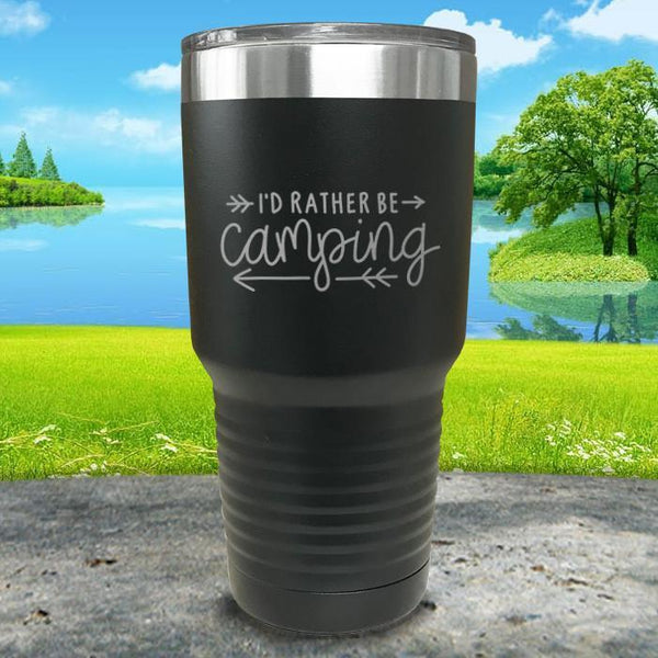 I'd Rather Be Camping Engraved Tumbler Tumbler Nocturnal Coatings 30oz Tumbler Black