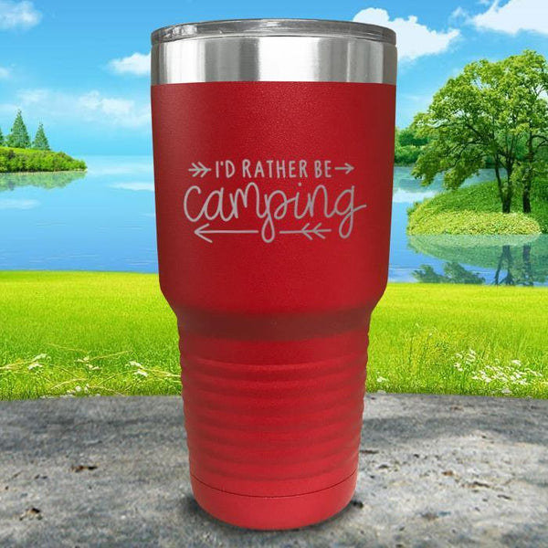 I'd Rather Be Camping Engraved Tumbler Tumbler Nocturnal Coatings 30oz Tumbler Red