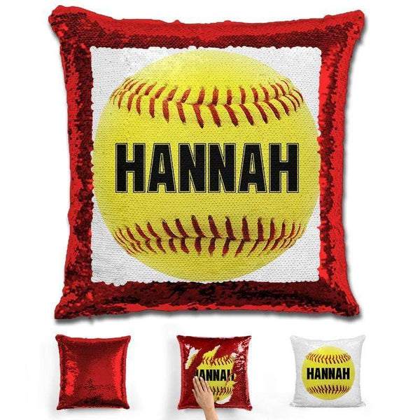 Softball Personalized Magic Sequin Pillow Pillow GLAM Red Black