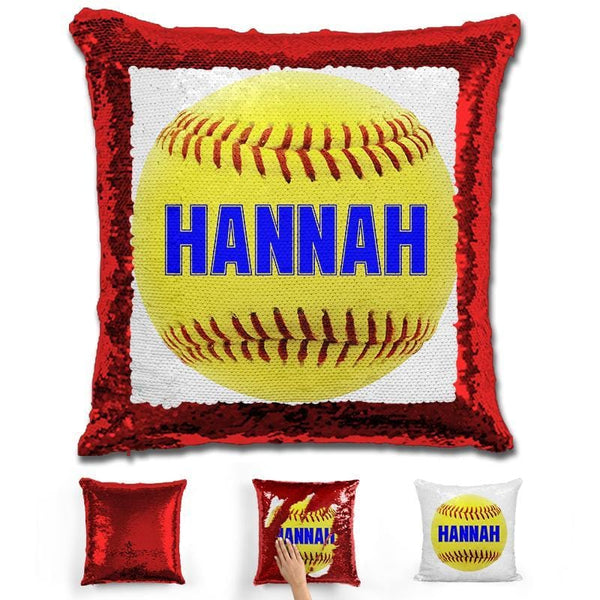 Softball Personalized Magic Sequin Pillow Pillow GLAM Red Blue