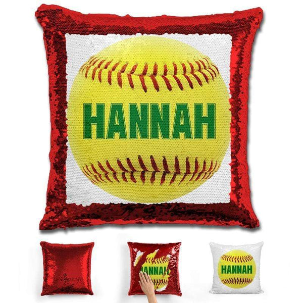 Softball Personalized Magic Sequin Pillow Pillow GLAM Red Green