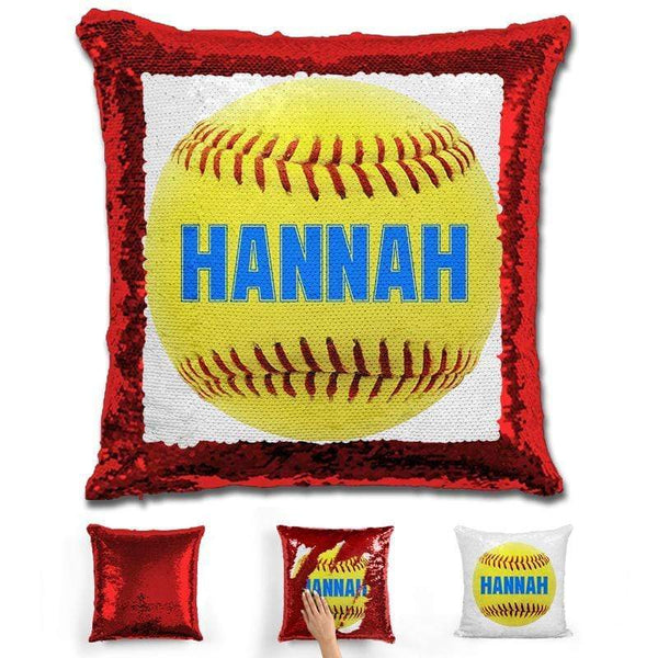 Softball Personalized Magic Sequin Pillow Pillow GLAM Red Light Blue
