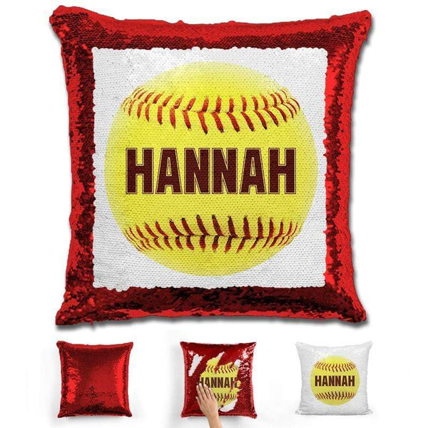 Softball Personalized Magic Sequin Pillow Pillow GLAM Red Maroon