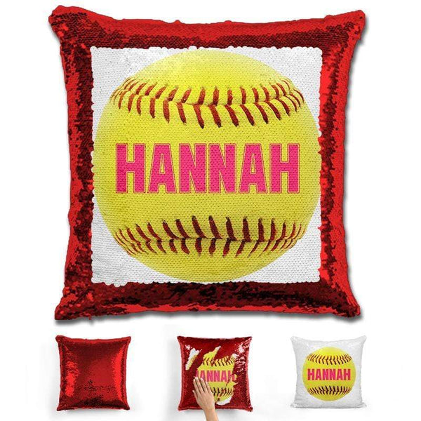 Softball Personalized Magic Sequin Pillow Pillow GLAM Red Pink
