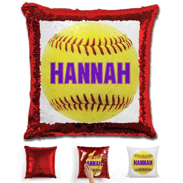 Softball Personalized Magic Sequin Pillow Pillow GLAM Red Purple