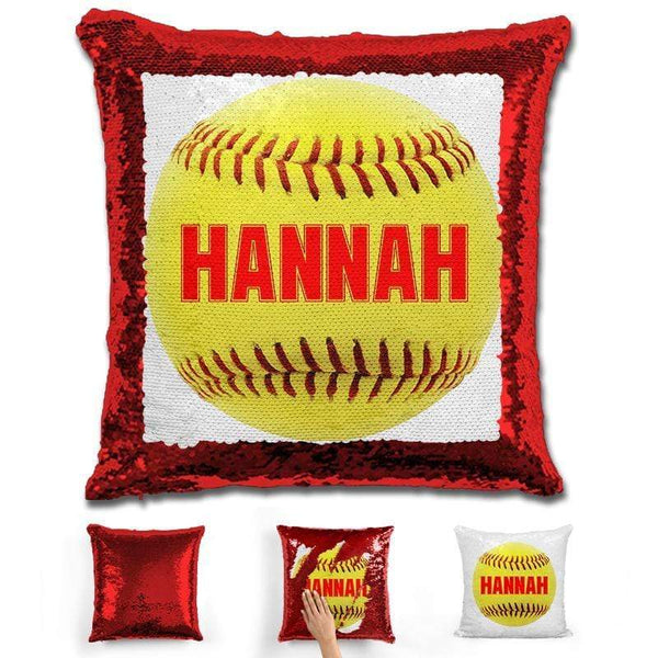 Softball Personalized Magic Sequin Pillow Pillow GLAM Red Red