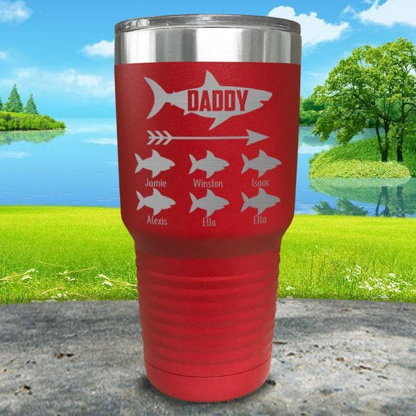 Daddy Shark (CUSTOM) With Child's Name Engraved Tumblers Tumbler Southland 30oz Tumbler Red