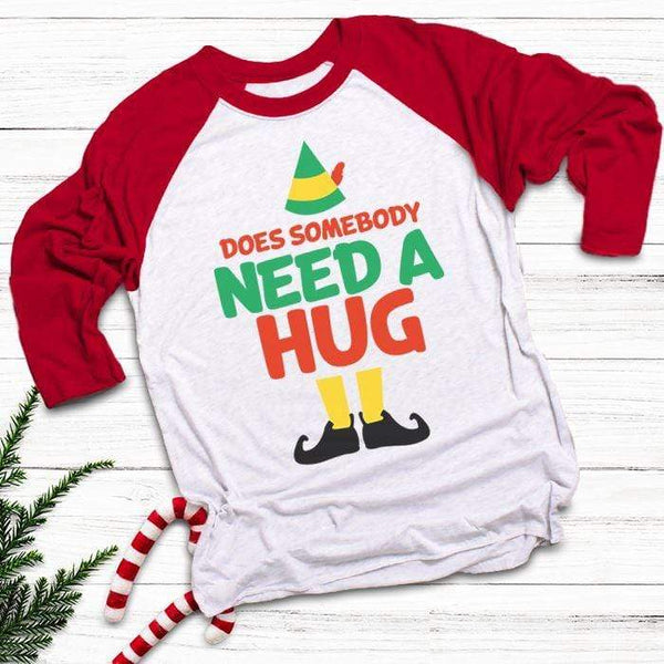 Somebody Need A Hug Raglan T-Shirts CustomCat White/Red X-Small