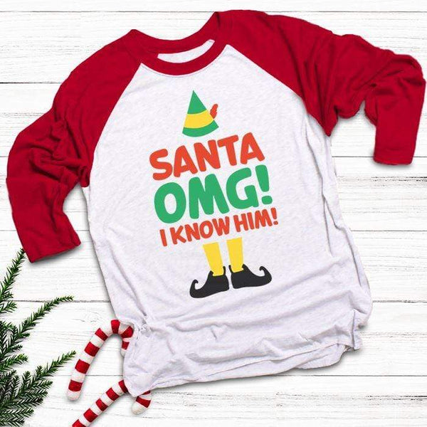 Santa I Know Him Raglan T-Shirts CustomCat White/Red X-Small