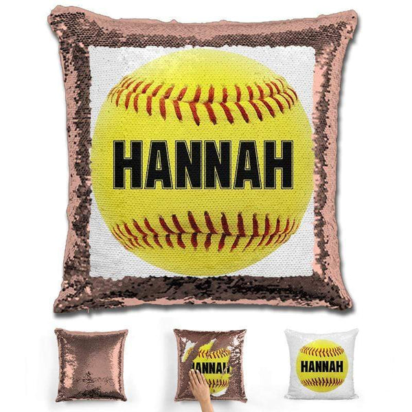 Softball Personalized Magic Sequin Pillow Pillow GLAM Rose Gold Black