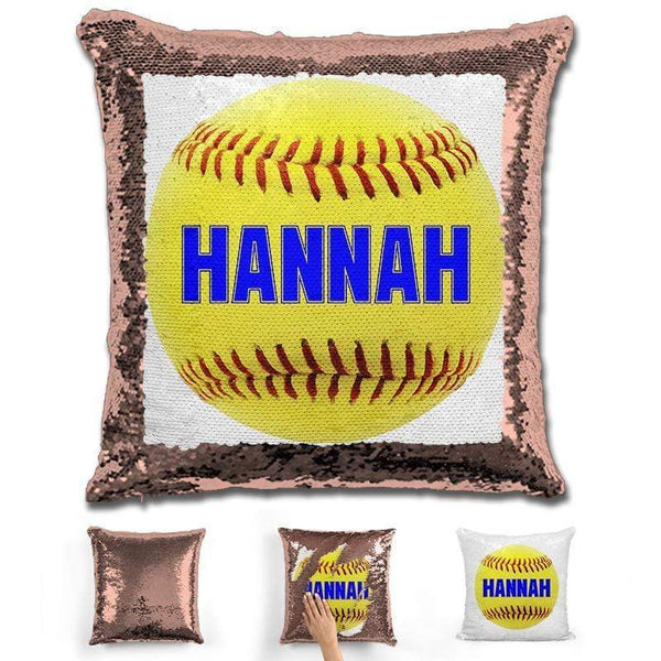 Softball Personalized Magic Sequin Pillow Pillow GLAM Rose Gold Blue