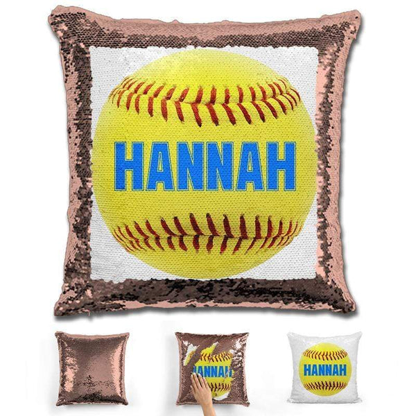Softball Personalized Magic Sequin Pillow Pillow GLAM Rose Gold Light Blue