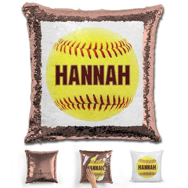 Softball Personalized Magic Sequin Pillow Pillow GLAM Rose Gold Maroon