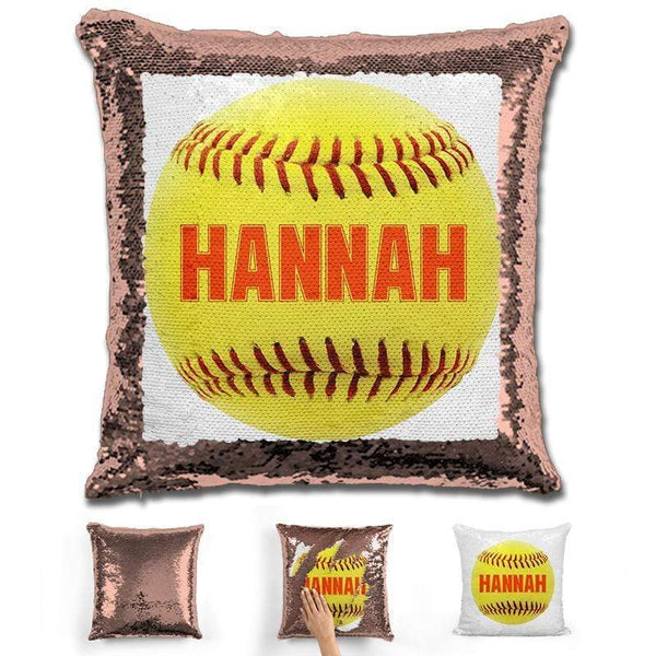 Softball Personalized Magic Sequin Pillow Pillow GLAM Rose Gold Orange