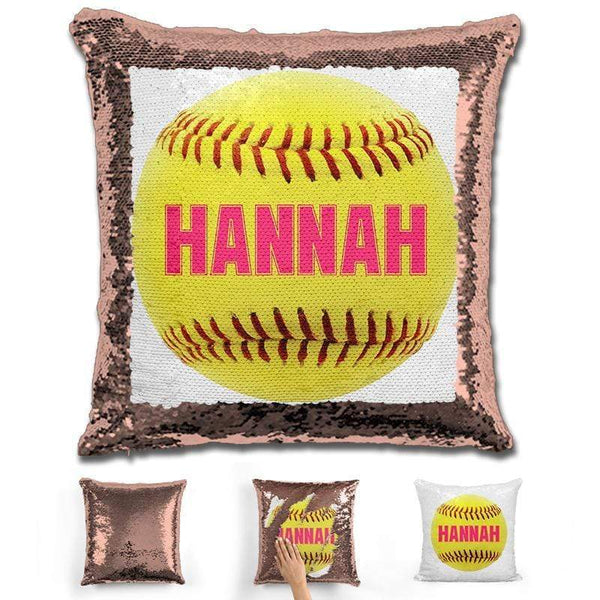 Softball Personalized Magic Sequin Pillow Pillow GLAM Rose Gold Pink