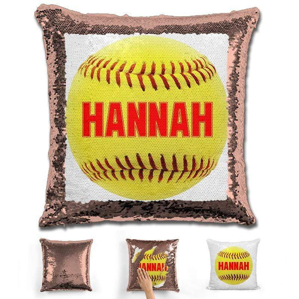 Softball Personalized Magic Sequin Pillow Pillow GLAM Rose Gold Red