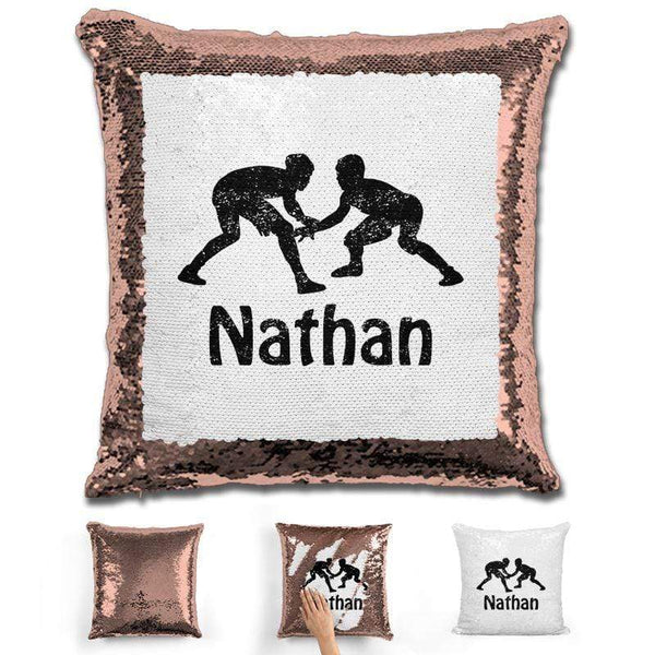 Wrestling Personalized Magic Sequin Pillow Pillow GLAM Rose Gold Black