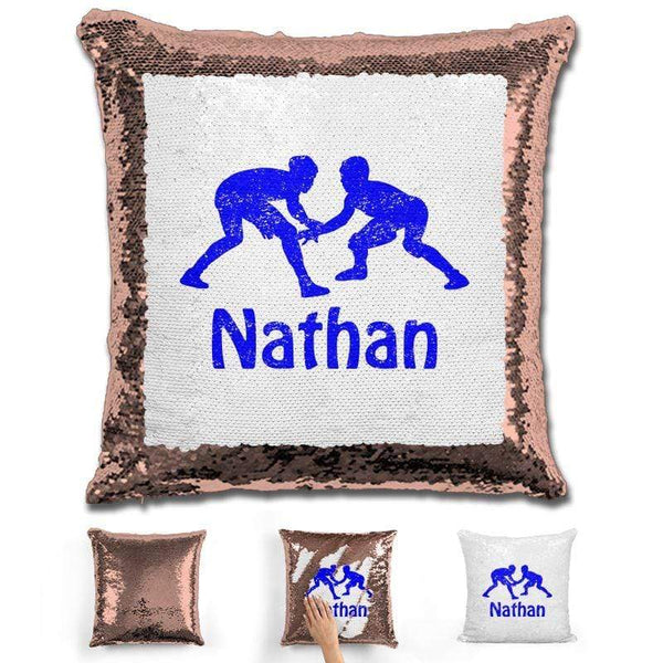 Wrestling Personalized Magic Sequin Pillow Pillow GLAM Rose Gold Blue