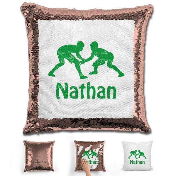 Wrestling Personalized Magic Sequin Pillow Pillow GLAM Rose Gold Green