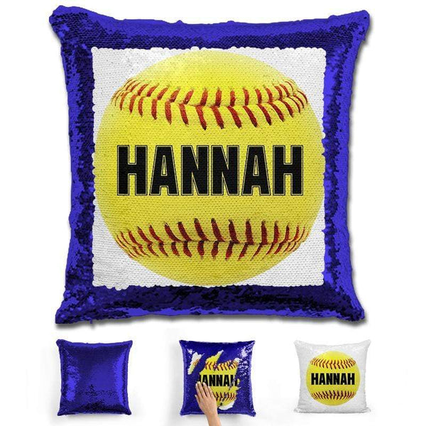 Softball Personalized Magic Sequin Pillow Pillow GLAM Blue Black