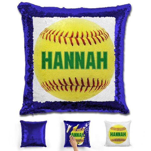 Softball Personalized Magic Sequin Pillow Pillow GLAM Blue Green
