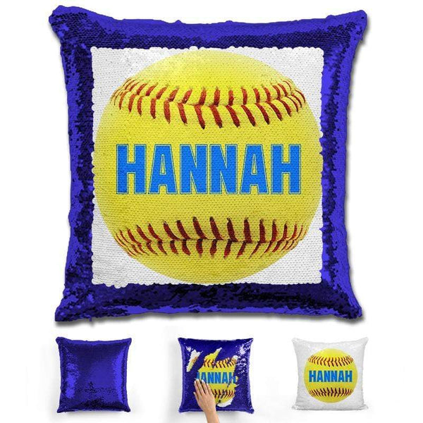 Softball Personalized Magic Sequin Pillow Pillow GLAM Blue Light Blue
