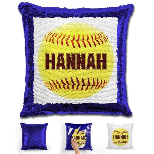 Softball Personalized Magic Sequin Pillow Pillow GLAM Blue Maroon