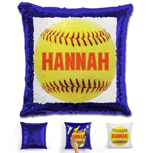Softball Personalized Magic Sequin Pillow Pillow GLAM Blue Orange