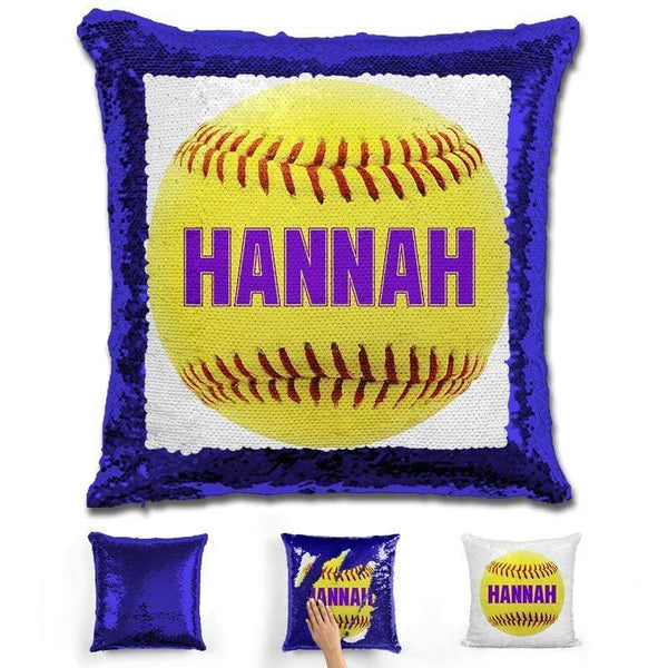 Softball Personalized Magic Sequin Pillow Pillow GLAM Blue Purple