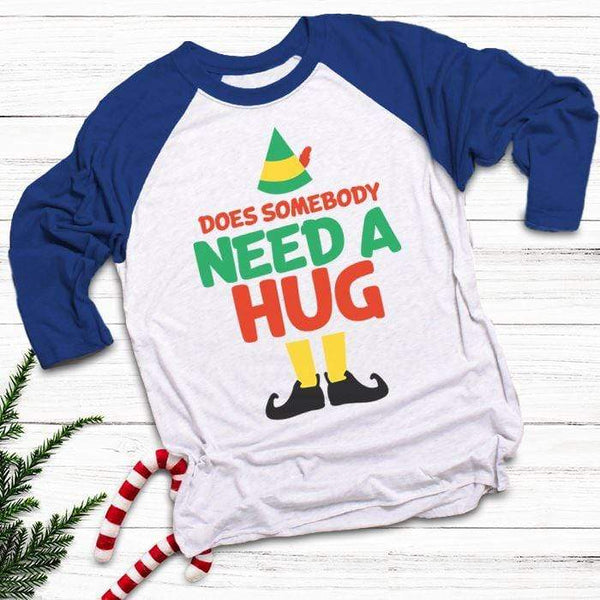 Somebody Need A Hug Raglan T-Shirts CustomCat White/Royal X-Small