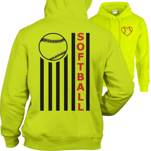 Softball American Flag Hoodies Apparel Edge Safety Green S