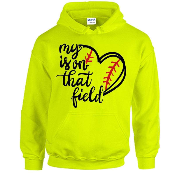 Softball My Heart Belongs On The Field Hoodies Apparel Edge Safety Green S