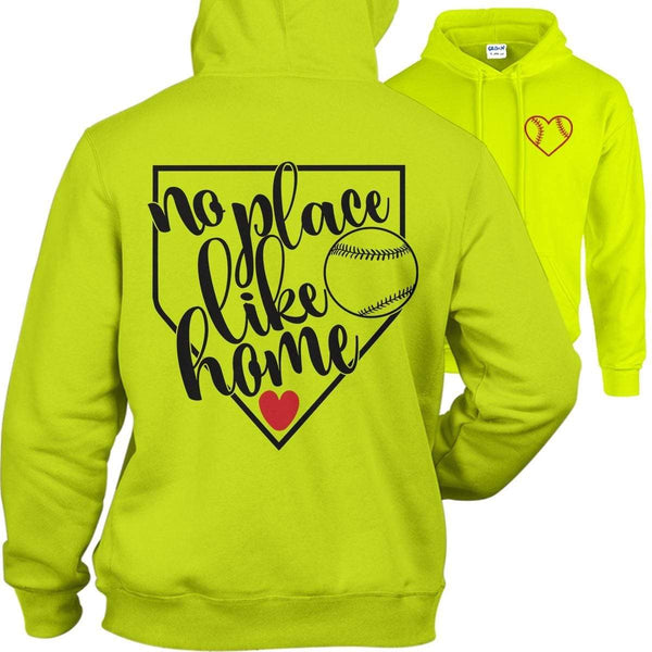 Softball No Place Like Home Hoodies Apparel Edge Safety Green S