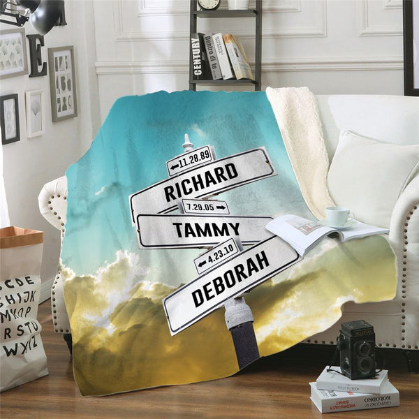 Kids Name Sign Personalized Sherpa Blanket