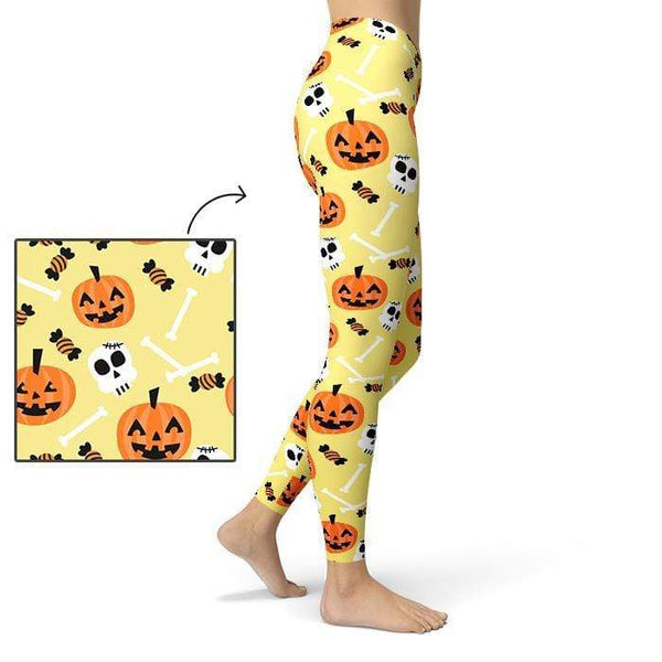 Pumpkin Skull Leggings Pants CustomCat X-Small