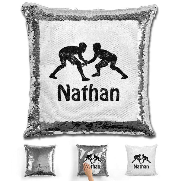 Wrestling Personalized Magic Sequin Pillow Pillow GLAM Silver Black