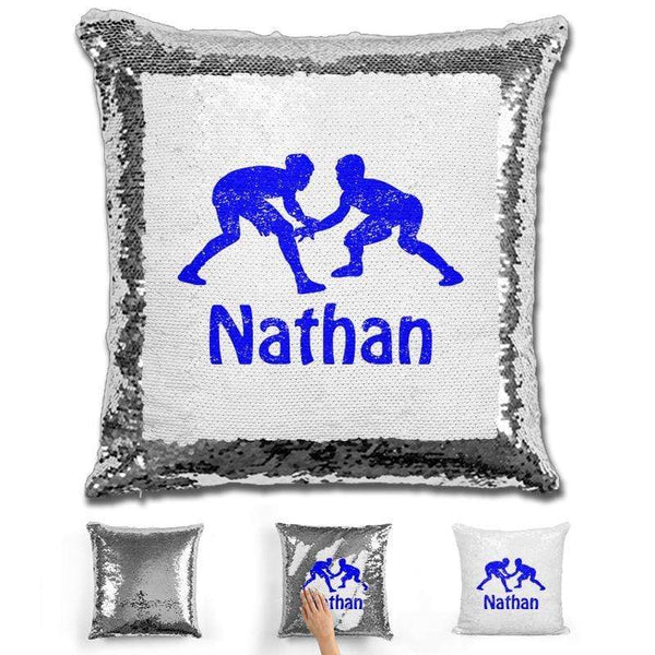 Wrestling Personalized Magic Sequin Pillow Pillow GLAM Silver Blue