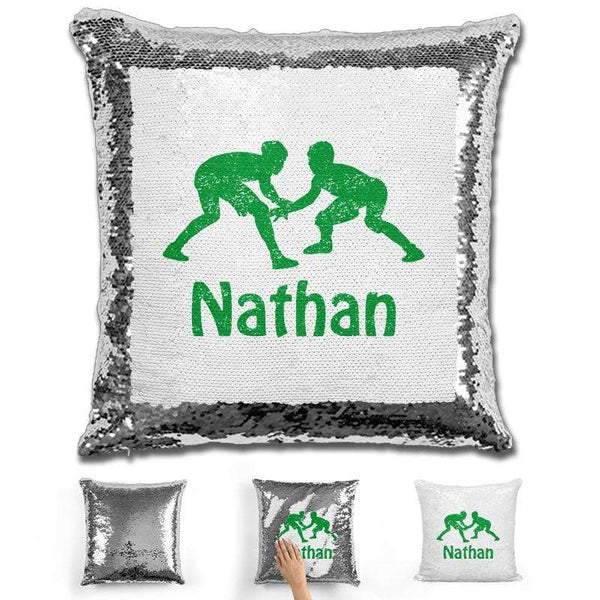 Wrestling Personalized Magic Sequin Pillow Pillow GLAM Silver Green