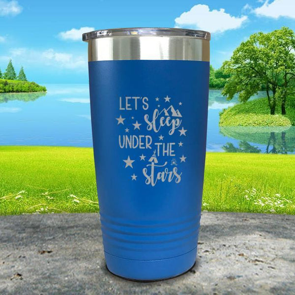 Let's Sleep Under the Stars Engraved Tumbler Tumbler ZLAZER 20oz Tumbler Blue