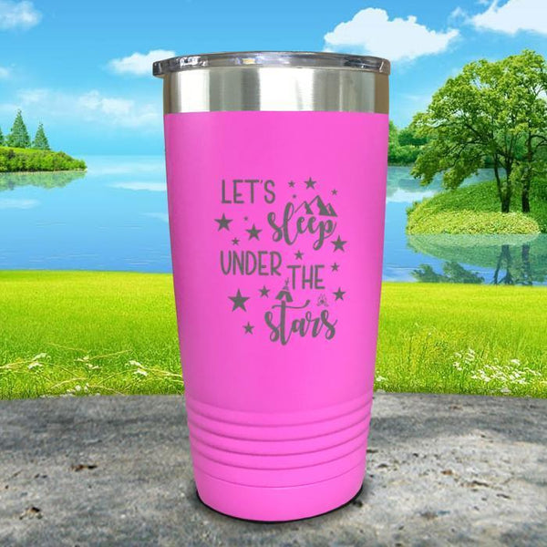 Let's Sleep Under the Stars Engraved Tumbler Tumbler ZLAZER 20oz Tumbler Pink